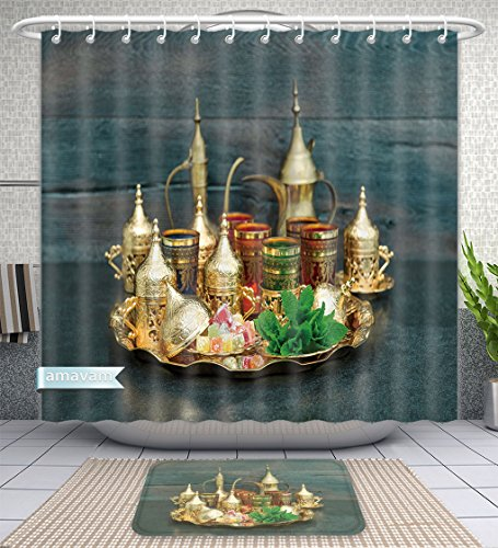 Amavam Bathroom 2-Piece Suit Oriental Tea Coffee Table Golden Dishes With Delight And Mint Ramadan Kareem Eid Mubarak Vintage Shower Curtains And Bath Mats Set, 79