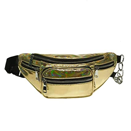 Amazon.com: Fanny Pack Waist Bag Belt Bag Zipper Silver ...