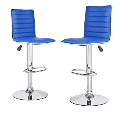 Joveco Modern Hydraulic Lift Adjustable Leather Bar Stools Set Of 2  Blue Blue Leather Bar Stools L30