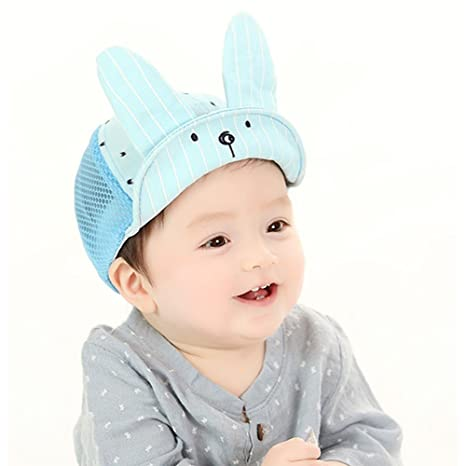 48db21a203a Amazon.com   Lalawow Baby Hats Brim Foldable Baby Mesh Caps with Adjustable  Nylon Buckle for 6-18 Month Baby (Blue)   Baby