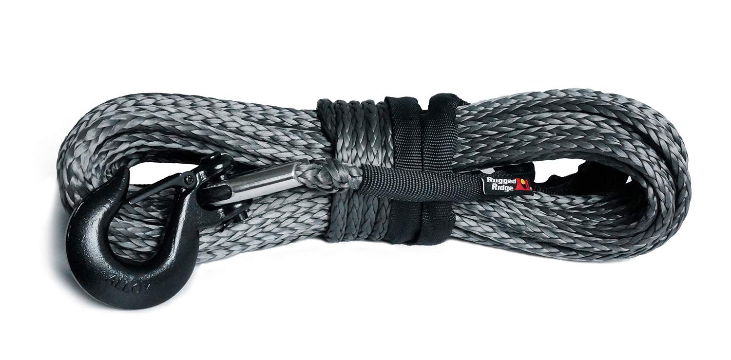 Rugged Ridge 15102.13 Dark Gray 25//64 x 94 Synthetic Winch Line