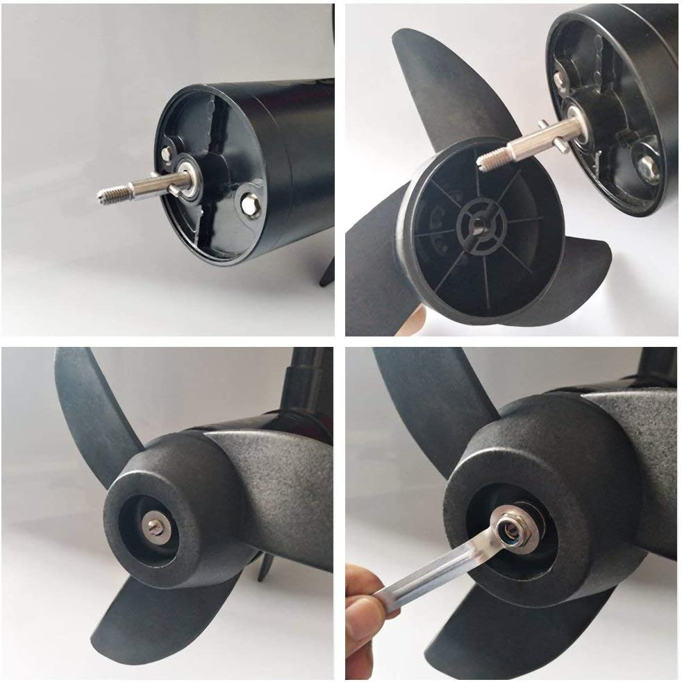 menolana Boat 3-Blade Propellers Electric Outboard Trolling Motor Prop and Mount Nut