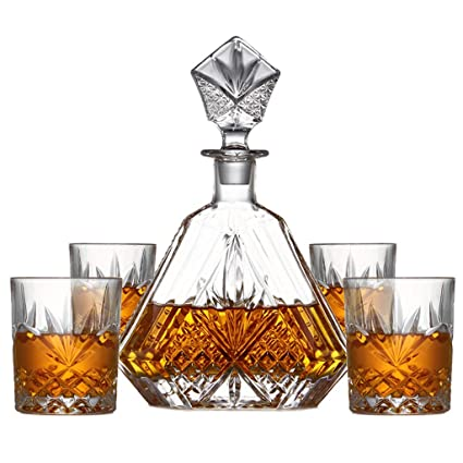 LJP Decantador De Vino De 5 Piezas, con Tapón Adornado 4 Exquisitos Vasos De Cristal