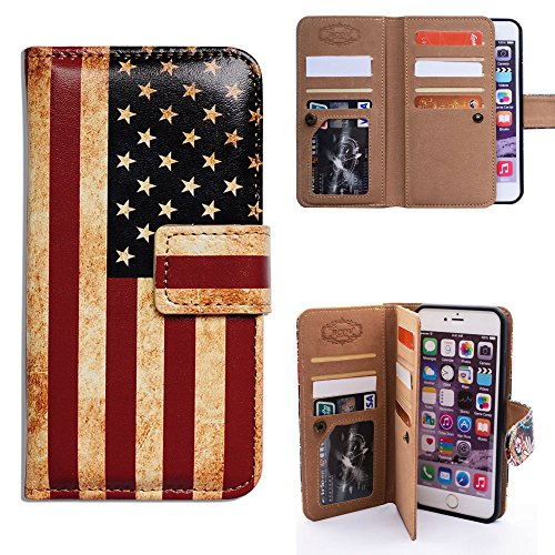 iPhone 6s Plus Case,iPhone 6 Plus Case, Bfun Packing Bcov Retro American Flag Multifunction 9 Card Slot Wallet Leather Cover Case for iPhone 6 Plus/6S Plus (Iphone 6 Skins American Flag)
