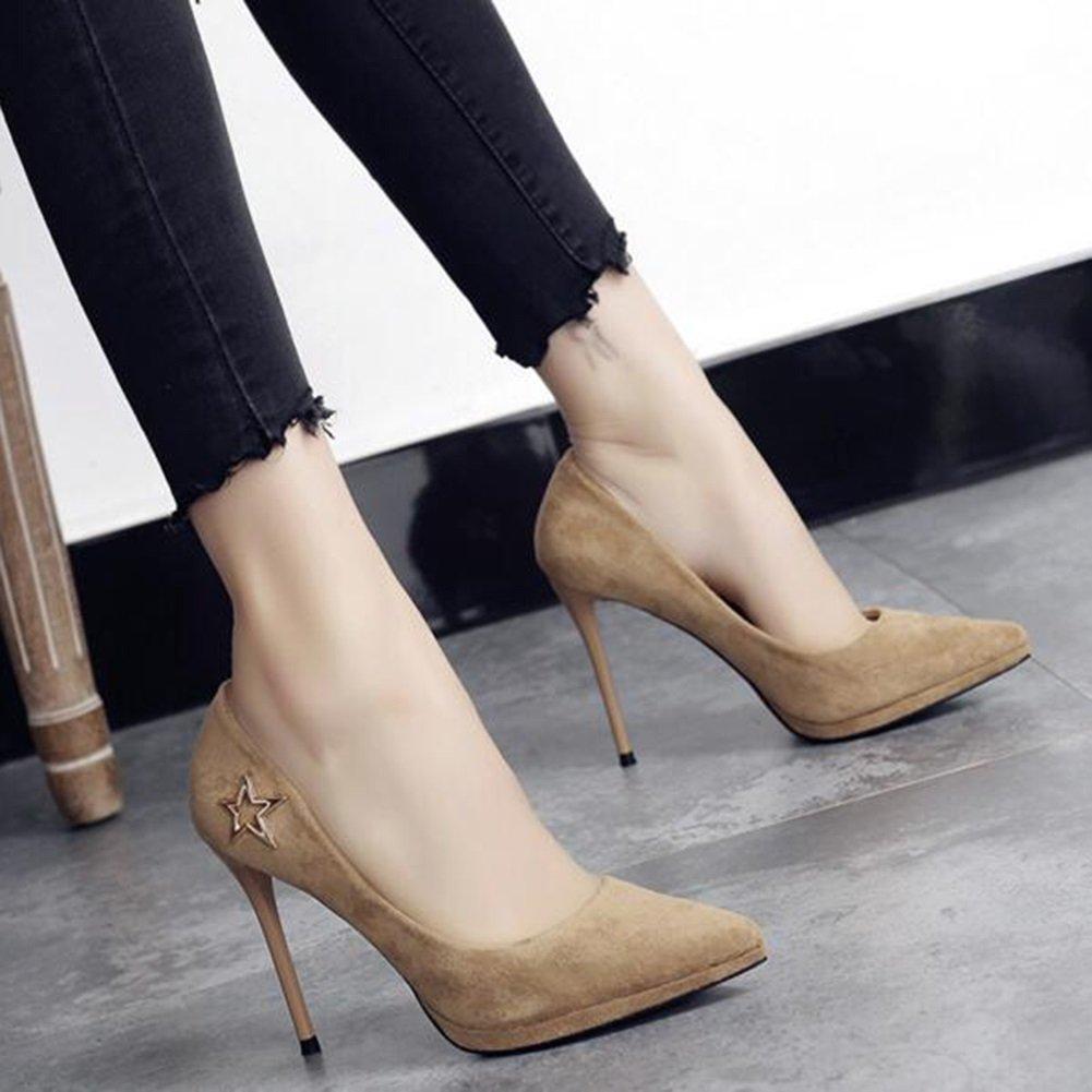 YIXINY Pumps Modern 10 Cm High Heels Plattform Damenschuhe : Einzelne Schuhe Arbeit Beige / Schwarz ( Farbe : Damenschuhe 2 , größe : EU37/UK4.5-5/CN37 ) 2 9658f6