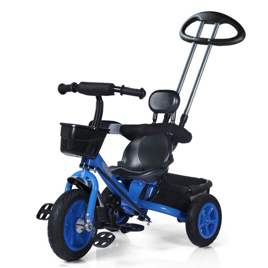 HAIZHEN マウンテンバイク 子供の三輪車防爆天然ゴム非インフレータブルチタン空の自転車プラスチックシート1-5歳赤ちゃん車のおもちゃトロリー調節可能なダブルプッシュロッド自転車85 * 50 * 90-100センチメートル 新生児 B07DLB4P12 青 青