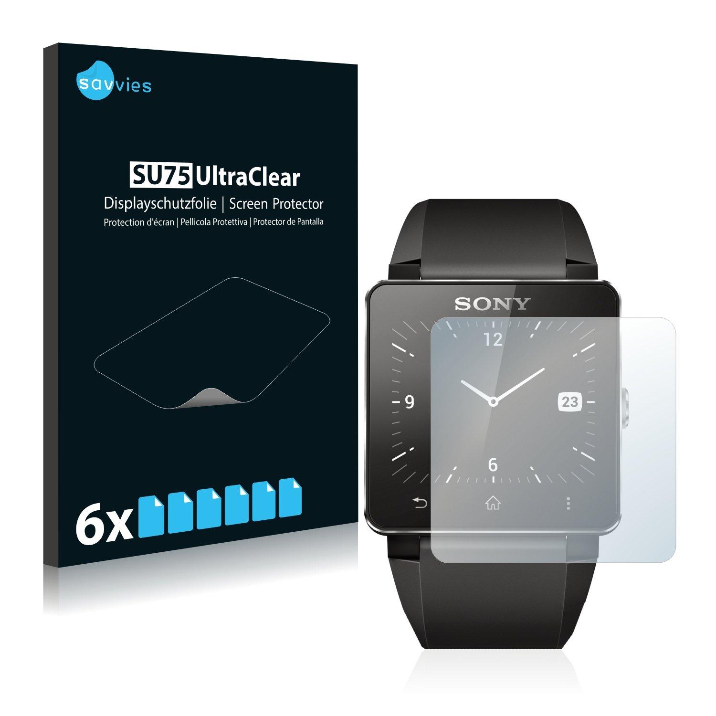 Savvies Protector de Pantalla compatible con Sony Smartwatch 2 [6 Unidades] - Transparente