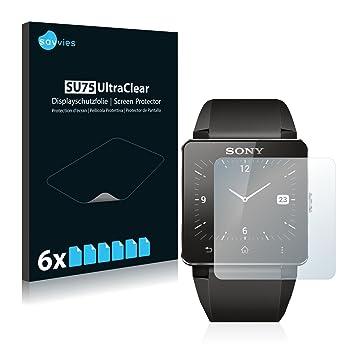 savvies Protector Pantalla Compatible con Sony Smartwatch 2 (6 Unidades) Pelicula Ultra Transparente