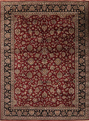 (Agra Oriental Area Rug Hand-Knotted Wool All Over Floral Carpet 9 X 12 Burgundy )