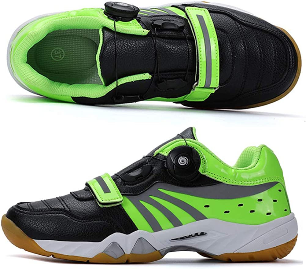 YQSHOES Men's Outdoor Cycling Shoes, Rotating Button Laces, Tennis Feather Table Tennis Shoes, Sports Shoes Green