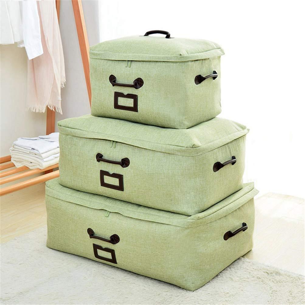 ベッド下収納ボックス薄型 ジップ付き特大 900Dリネン洗える3つのハンドル 付衣装ケース ベッド下収納 衣類、靴、毛布、衣服、セーター,3パック,Green B07S17LP4Y Green