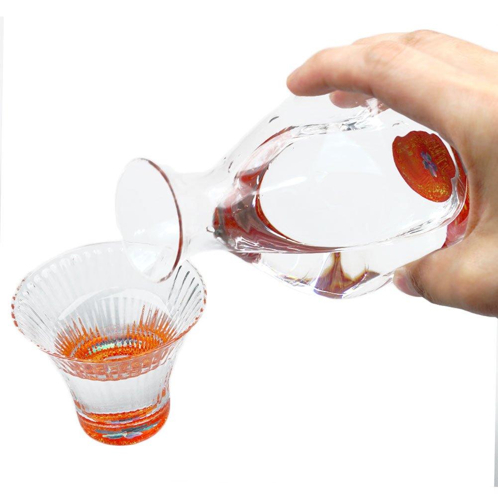 Japanese Urushi Raden Mother Of Peral Inlay Glass Drinking Set, Cherry Blossom Design Sake Pither & Guinomi Sake Cups - 2-piece Set Red [Japanese Crafts Sakura]