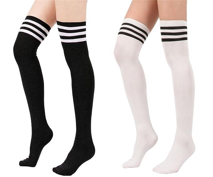 2 Pcs Mujer Negro Blanco Raya Over Knee Thigh Socks High Stockings Socks Calcetines Un tamaño