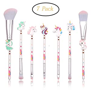 Cute Unicorn Makeup Brush Set-7pcs Fairy Cosmetic Brushes With Metallic Handle for Eyebrow,Eye Shadow,Foundation, Blending and Lips, Great Gift for Sister Girlfriend