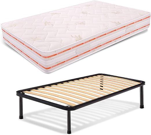 AILIME SRL Kit módulo de Parte Superior la Plaza de 25 cm de Alto y una Mitad 120 x 200 colchón ortopédico + Red en Hierro en Madera de Haya ...