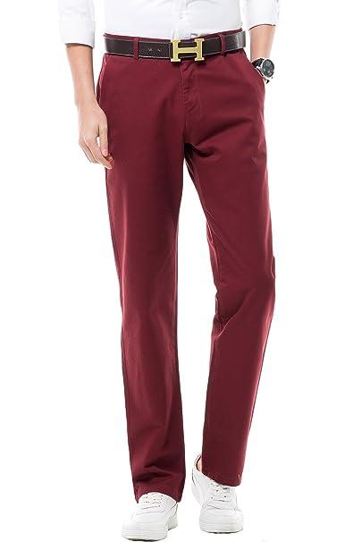 Harrms Pantalones Elástico de Hombre, Corte Recto, Estilo Liso, Pantalones Casual con Perneras Rectas, 18 Colores para Elegir