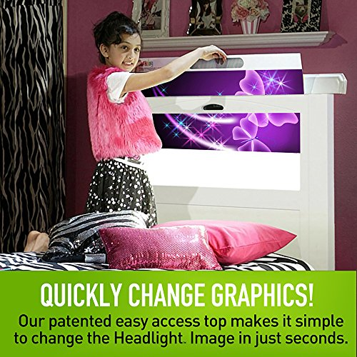 LightHeaded Beds 20250 Canterbury Twin Kids Bed with Changeable Back-Lit LED Imagery Headboard, Satin White