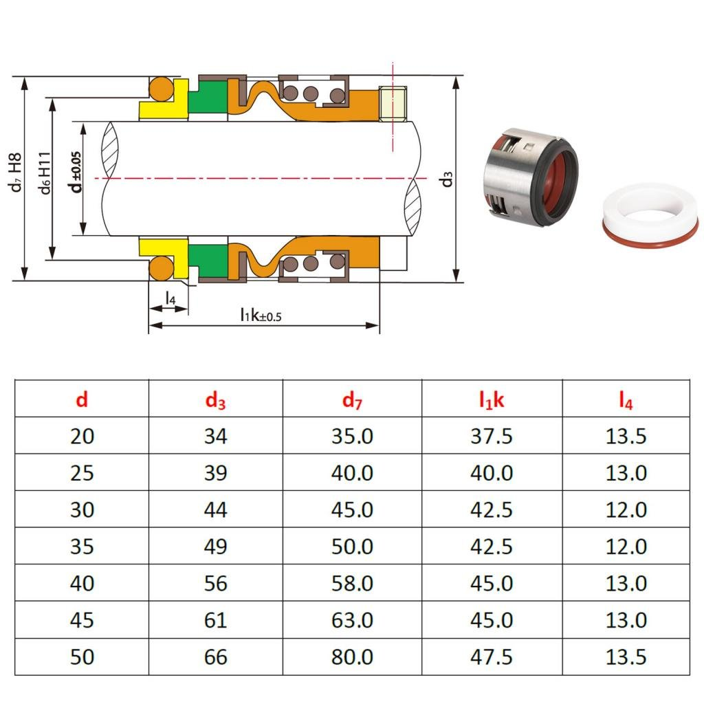 Ltd TYPE502-30MM Gogoal Mechanical Seal Type 502 Shaft Size 30mm Replace John Crane 502-30mm and AESSEAL B07S 30mm for pumps Gogoal Industry co