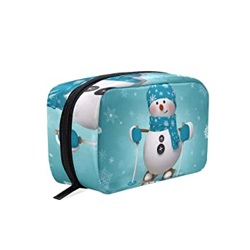 3ebb94184a01 Amazon.com : Makeup Bag Snowman Cartoon Girls Travel Cosmetic Bag ...