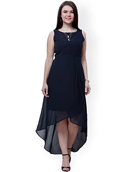 IandE Western Women s Black Solid Sleeveless Georgette Unique Asymmetric  High-Low Dress  Amazon.in  Clothing   Accessories 3862bf3217