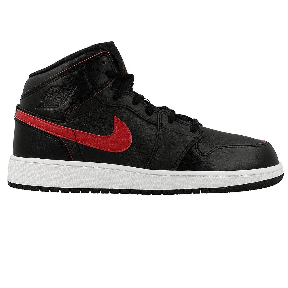 best service abb82 9ad70 Nike Youth Air Jordan 1 Mid Black Red Leather Trainers 39 EU  Amazon.co.uk   Shoes   Bags