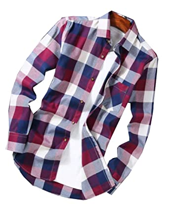 Wsplyspjy Mens Fashion Lapel Long Sleeve Button Down Flannel Shirt