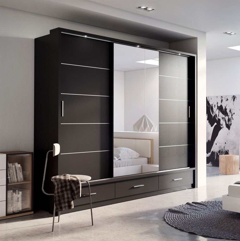 Modern Bedroom Door Modern Bedroom Wardrobe Sliding Door Havana Black 203cm Sold By