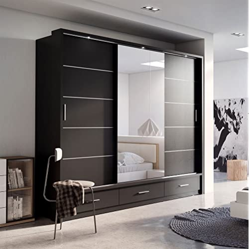 brand new modern bedroom mirror sliding door wardrobe arti 1 in matt black 250cm sold by - Modern Wardrobe