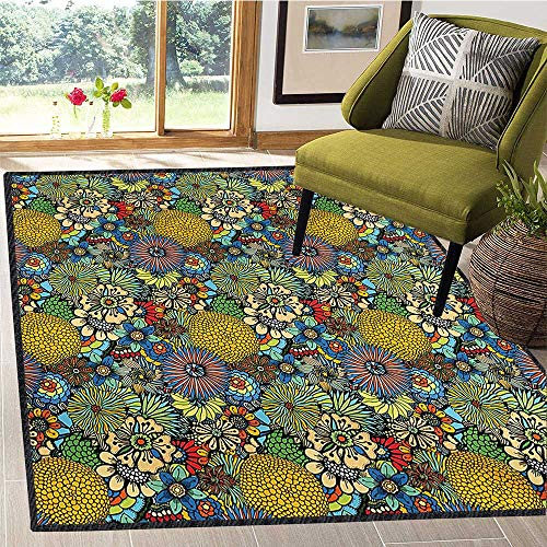 (Garden Art, Anti Skid Rugs, Whimsical Florist Pattern with Doodle Funny Plants Artistic Rich Summer Nature, Customize Door mats for Home Mat 6x7 Ft Multicolor)