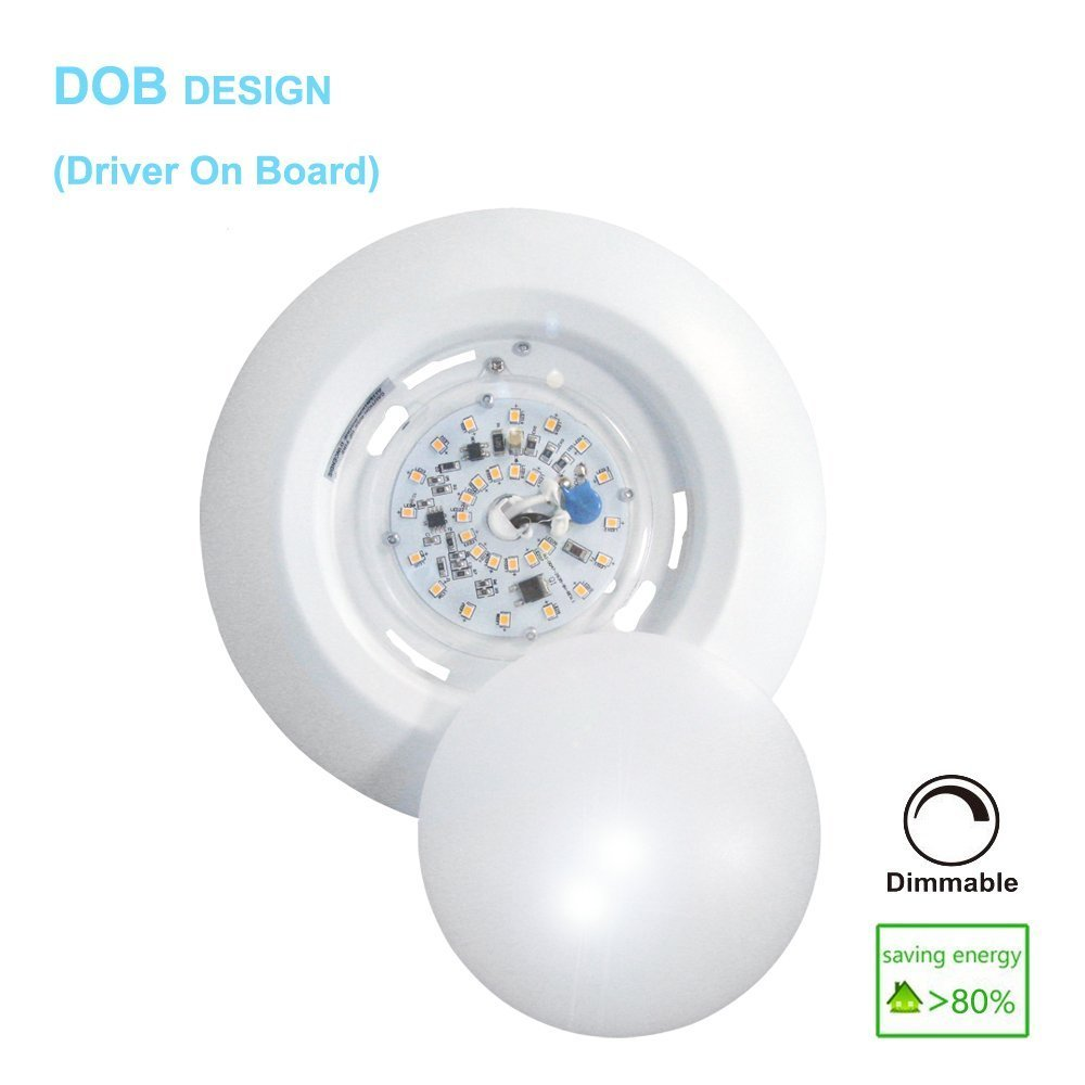 6 Inch Slim Surface & Recessed Mount Round LED Disk Light, 15W, 1000Lumens, CCT 3000K, CRI>80, Dimmable, DOB Design, cETL Listed and Energy Star, WISH LIGHTING, 6 Pack by Wish Lighting (Image #2)