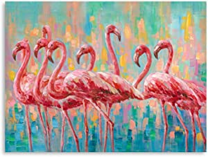 DIY Flamingo Bedroom Wall Decor Painting: A Flock of Pink Flamingo Wall Art Canvas for Bathroom with Wood Frames Not Ready to Hang(24