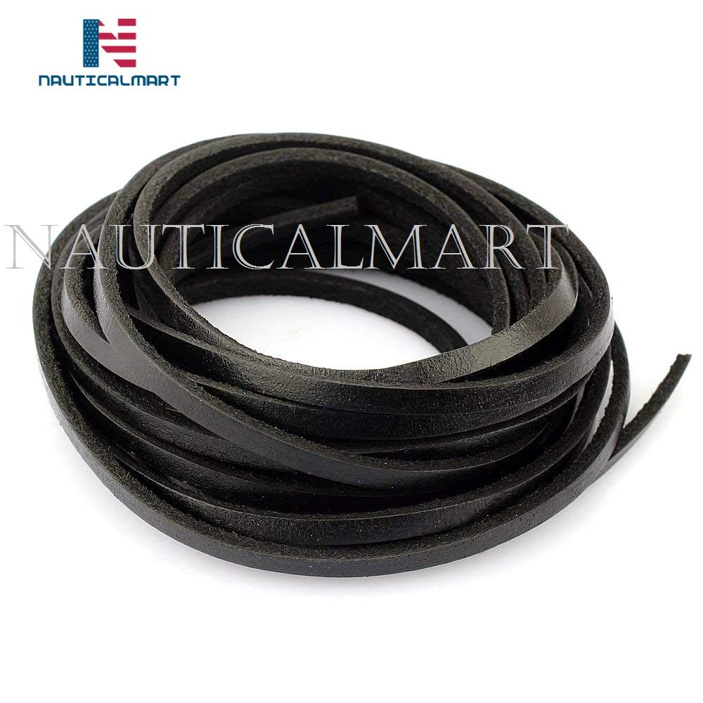 Nauticalmart Strong 4 mm Genuine Leather Cord Braiding String for Jewelry Making Craft DIY Assorted 2yard (Flat Black)