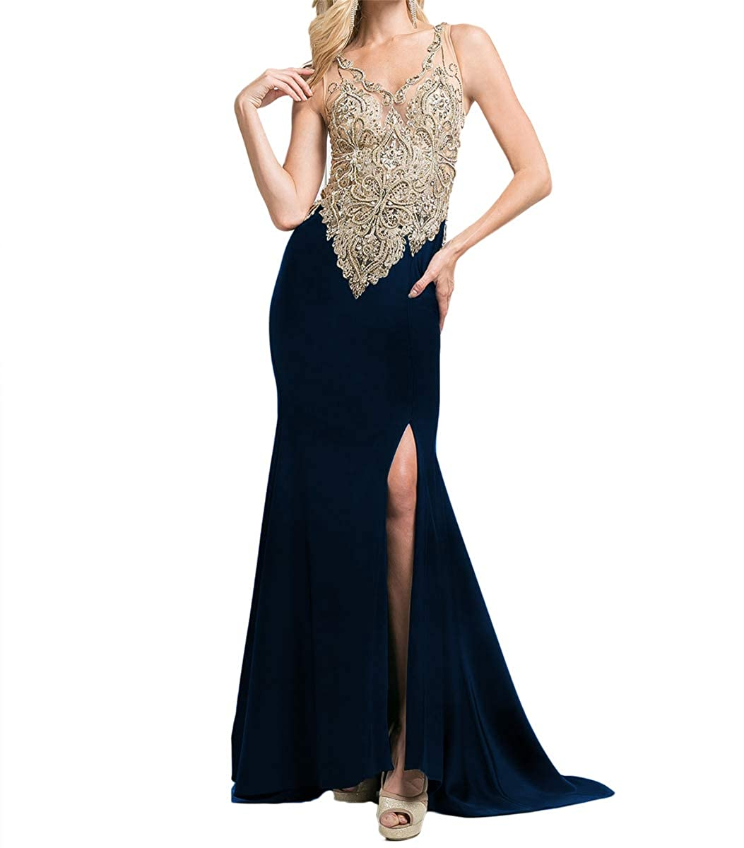 Navy bluee SDRESS Women's gold Lace Appliques V Neck Spit Side Formal Prom Homecoming Dress