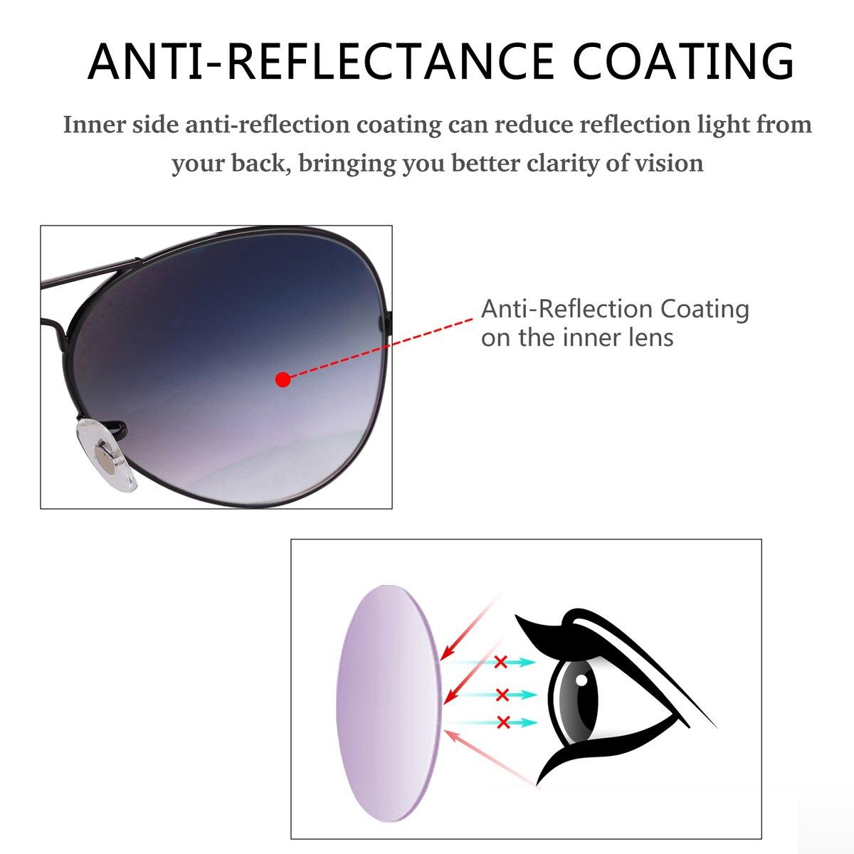 O-LET Aviator Sunglasses for Men Women Driving Fishing Glass Lens Aviators UV400 (62mm, Black Frame/aGrey Gradient Lens) by O-LET (Image #3)