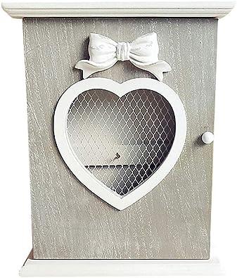 TOPBATHY Caja de Almacenamiento de Pared Caja de Llaves decoración en Forma de corazón Caja de Almacenamiento de Claves contenedores para la decoración rústica (Tapa Plana): Amazon.es: Joyería