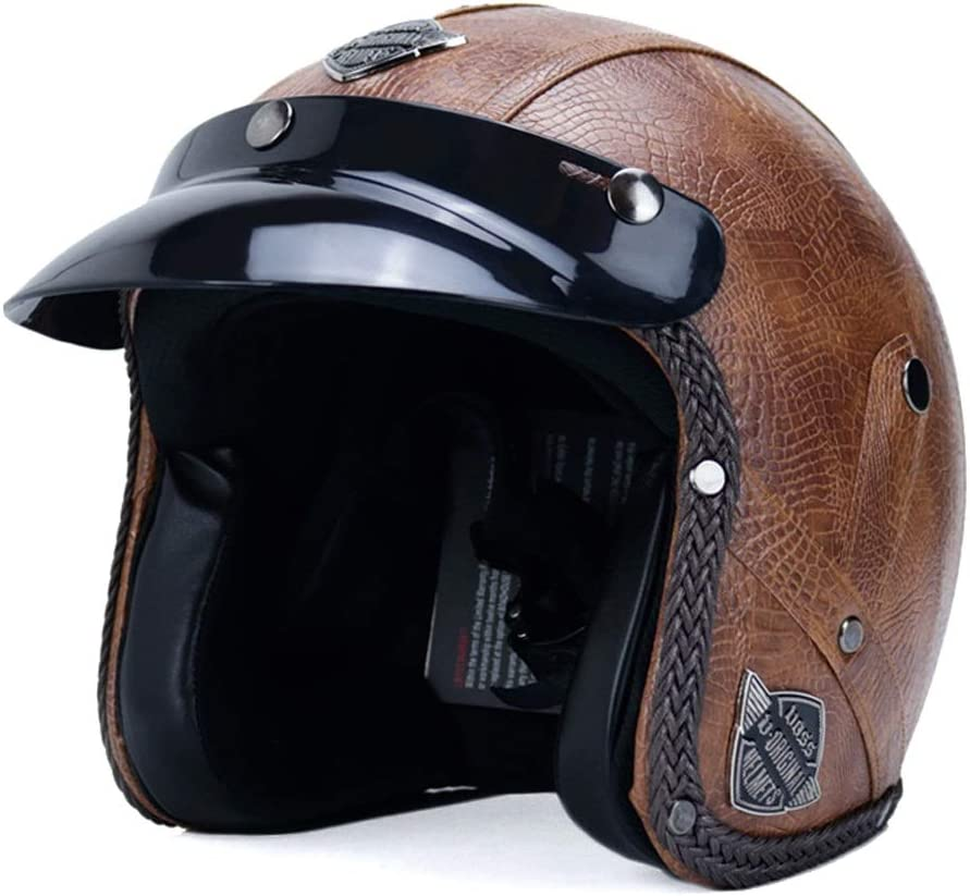 Casco de motocicleta Motocycle Cascos for hombres y mujeres de piel 3/4 casco ligero deportes al aire libre Seguridad protectora Medio casco (Color : 02 marrón-XXL)