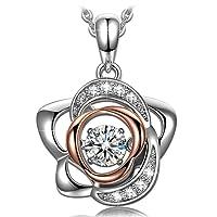 Dancing Heart Rose der Liebe Damen Kette Silber 925 mit Geschenkbox - Beste Schmuck Geschenk für Frauen Mama Ehefrau Freundin