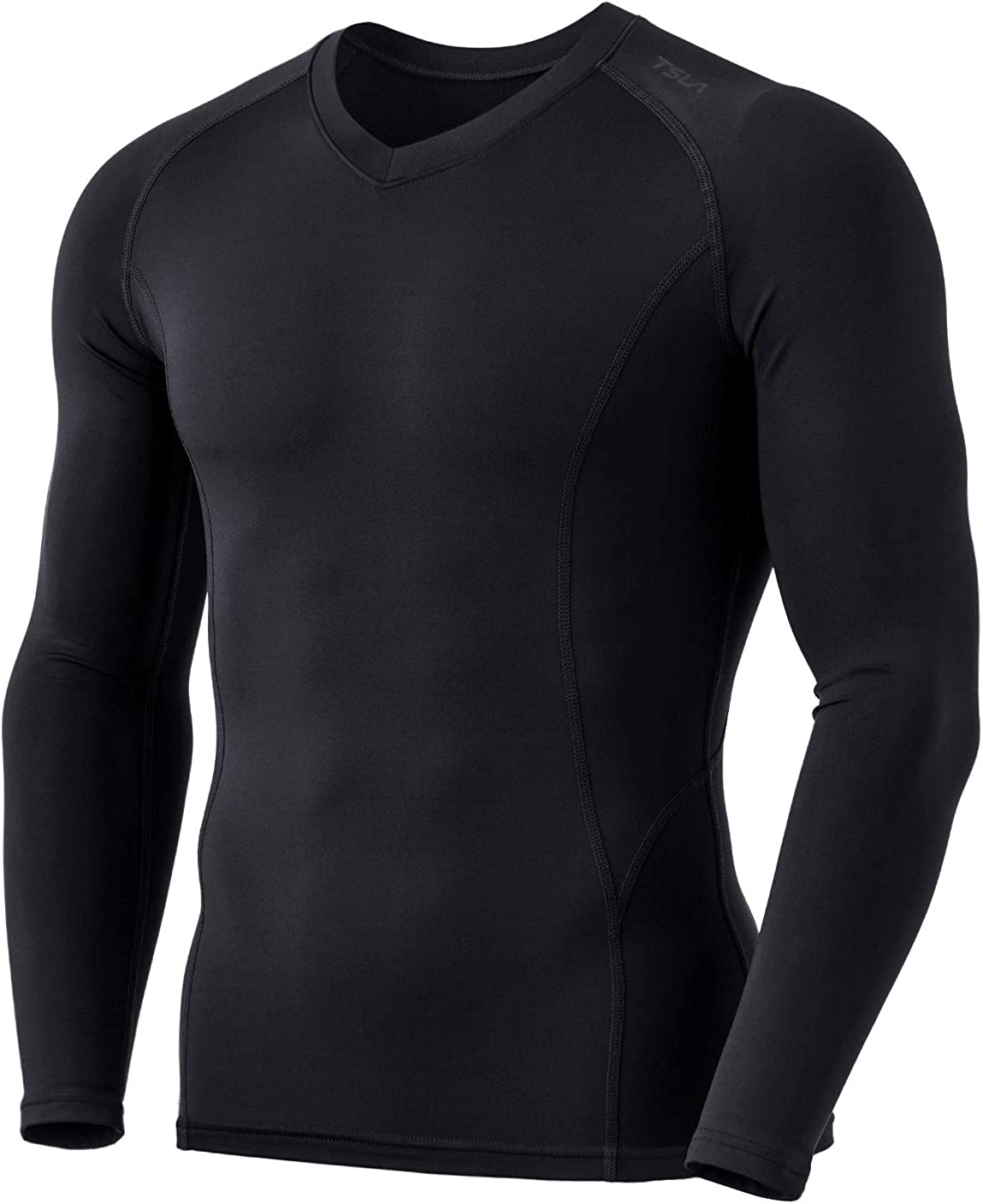TSLA Mens Thermal Wintergear Compression Baselayer Vneck Long Sleeve Shirt