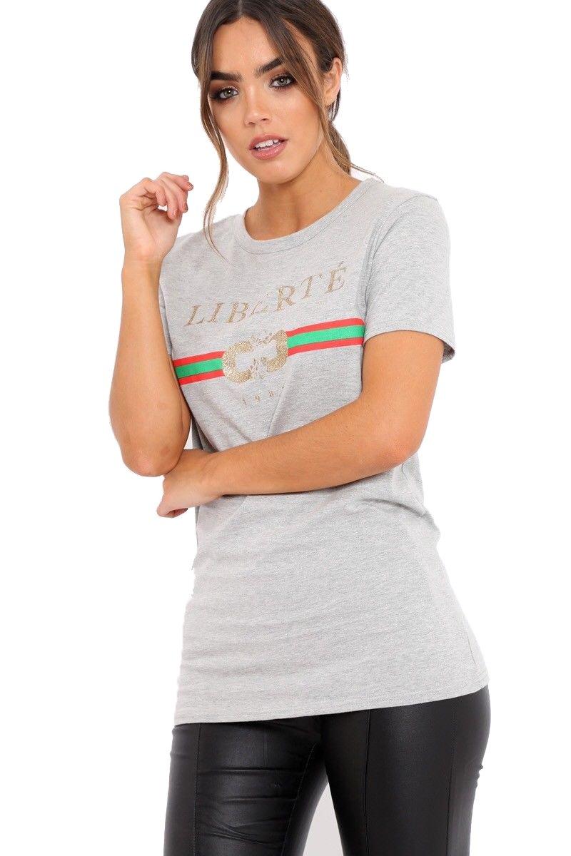 70551efd XuBiDuBi Women Guilty Bonjour Liberte Queen Slogan T Shirt Celebrity ...