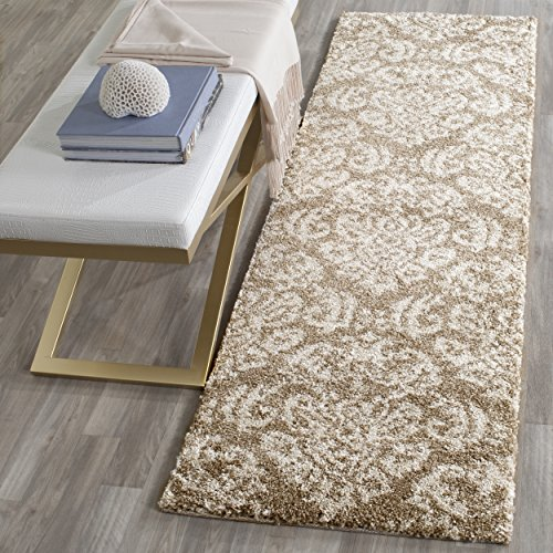 Safavieh Florida Shag Collection SG460-1311 Beige and Cream Runner (2'3
