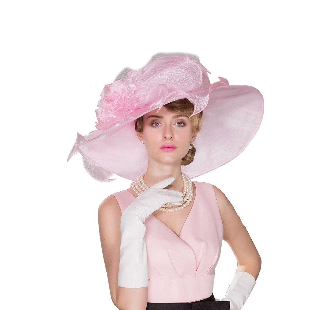 HomArt Women's Organza Church Bridal Wedding Party Hat Triple Crown Hat, Organza, White/Pink