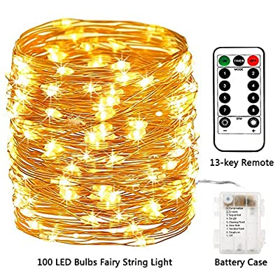Areskey LED Fairy String Lights - 33ft 100 LED Battery Operated Waterproof 8 Modes Remote Control Copper Wire Firefly Lights for Christmas Halloween Holiday Wedding Party