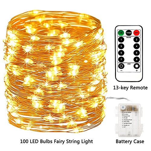 Areskey LED Fairy String Lights - 33ft 100 LED Battery Operated Waterproof 8 Modes Remote Control Copper Wire Firefly Lights for Christmas Halloween Holiday Wedding Party (Warm White) (Halloween Weddings Ideas)