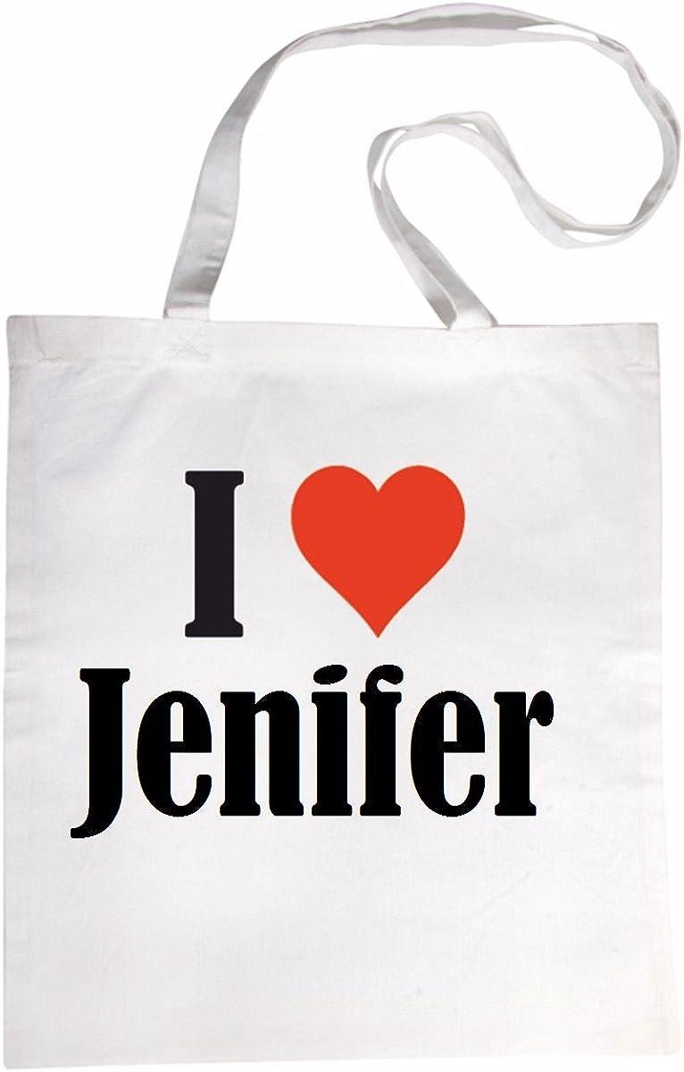 Le cadeau parfait pour votre amoureux Sac /à Bandouli/ère I Love Jenifer Shopping Bag Sac d/école Sac de Sport 38x 42cm en Noir ou Blanc