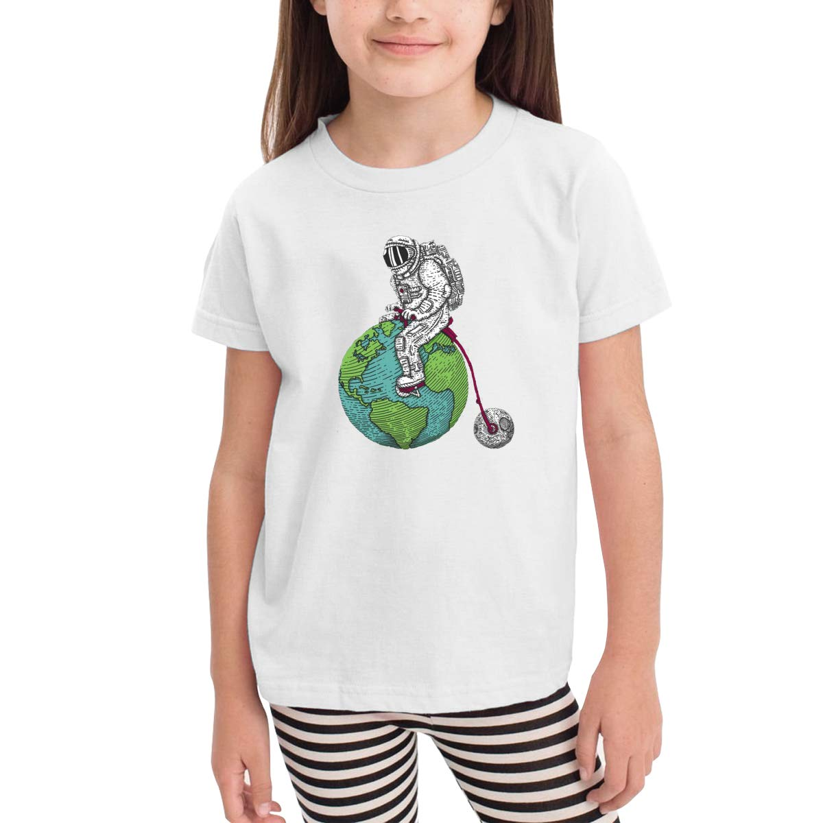 Astronaut Earth Novelty Cotton T Shirt Personality Black Tee for Toddler Kids Boys Girls