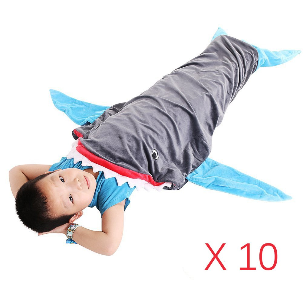 Pack of 10 PePeng Warm and Soft Shark Blanket for 3-12 Years Kids, 55.9' x 19.68', Snuggle-in Sleeping Bag at Living Room Sofa and Bed for the perfect night in (Sky blue) 55.9 x 19.68