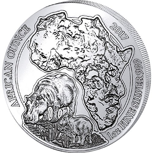Silver Hippo - 2017 RW African Ounce HIPPO 1 Oz Silver Wildlife Hippopotamus Coin in Mint Sealed Packaging - Rwanda 50 Francs BU