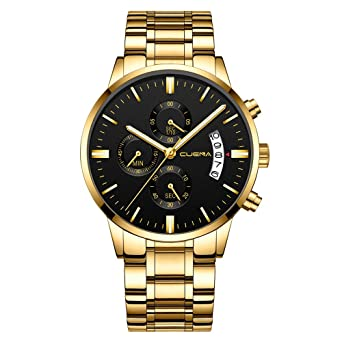 CUENA Stainless Steel Watch Men Business Chronograph Quartz Wrist Watch Waterproof Sport Clock