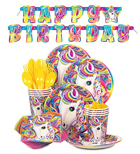 Lisa Frank Rainbow Majesty Unicorn Birthday Party Supplies Pack - Serves 16 -