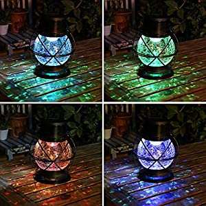 TAKEME Solar Lantern, Metal & Glass Outdoor Garden Lights,Vintage Decorative Lamp Color Changing Twinkling Crackle Lights